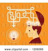 Vector Clip Art of Retro Creative Guy with Lightbulbs in His Head, over Orange by Qiun