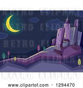 Vector Clip Art of Retro Crescent Moon Shining over a Dark City at Night by BNP Design Studio