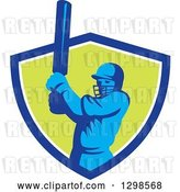 Vector Clip Art of Retro Cricket Batsman Emerging from a Blue White and Green Shield by Patrimonio