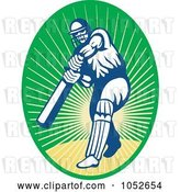 Vector Clip Art of Retro Cricket Batsman Logo - 11 by Patrimonio