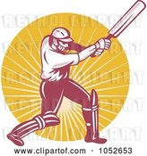 Vector Clip Art of Retro Cricket Batsman Logo - 5 by Patrimonio