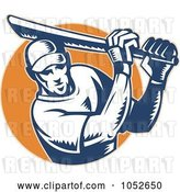Vector Clip Art of Retro Cricket Batsman Logo - 8 by Patrimonio
