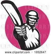 Vector Clip Art of Retro Cricket Batsman Logo - 9 by Patrimonio