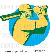 Vector Clip Art of Retro Cricket Batsman Player Emerging from a Blue Circle by Patrimonio