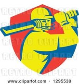 Vector Clip Art of Retro Cricket Batsman Player Emerging from a Red Shield by Patrimonio