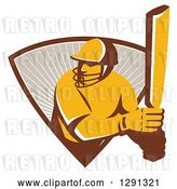 Vector Clip Art of Retro Cricket Batsman Player Emerging from a Triangle of Rays by Patrimonio