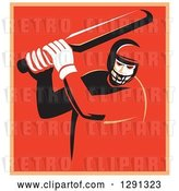 Vector Clip Art of Retro Cricket Batsman Player in a Red and Orange Square, with a White Border by Patrimonio