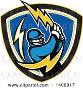 Vector Clip Art of Retro Cricket Batsman Swinging a Lightning Bolt in a Shield by Patrimonio