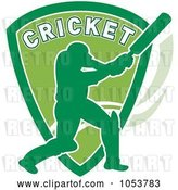 Vector Clip Art of Retro Cricket Batsman with a Shield by Patrimonio