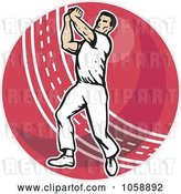 Vector Clip Art of Retro Cricket Bowler over a Red Ball by Patrimonio