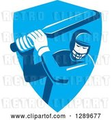 Vector Clip Art of Retro Cricket Player Batsman in a Blue Shield by Patrimonio