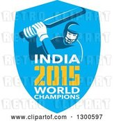 Vector Clip Art of Retro Cricket Player Batsman in a Blue Shield with India 2015 World Champions Text by Patrimonio