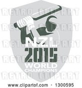 Vector Clip Art of Retro Cricket Player Batsman in a Gray Shield with NZL 2015 World Champions Text by Patrimonio
