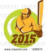 Vector Clip Art of Retro Cricket Player Batsman in a Green Circle with 2015 Australia New Zealand Text by Patrimonio