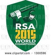 Vector Clip Art of Retro Cricket Player Batsman in a Green Shield with RSA 2015 World Champions Text by Patrimonio