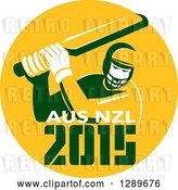 Vector Clip Art of Retro Cricket Player Batsman in a Yellow Circle with 2015 Australia New Zealand Text by Patrimonio