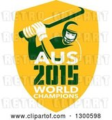 Vector Clip Art of Retro Cricket Player Batsman in a Yellow Shield with AUS 2015 World Champions Text by Patrimonio