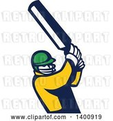 Vector Clip Art of Retro Cricket Player Batsman Swinging by Patrimonio