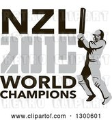 Vector Clip Art of Retro Cricket Player Batsman with NZL 2015 World Champions Text by Patrimonio