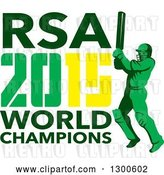 Vector Clip Art of Retro Cricket Player Batsman with RSA 2015 World Champions Text by Patrimonio