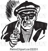 Vector Clip Art of Retro Criminal Pointing a Gun by BestVector