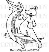 Vector Clip Art of Retro Crocodile Dancing with a Bear by Prawny Vintage
