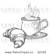 Vector Clip Art of Retro Croissant and Cup of Tea by AtStockIllustration