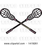 Vector Clip Art of Retro Crossed Lacrosse Sticks with Pink Handles by Patrimonio