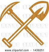 Vector Clip Art of Retro Crossed Miner Pickaxe and Shovel by Patrimonio