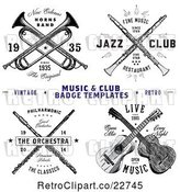 Vector Clip Art of Retro Crossed Musical Instrument Designs with Sample Text by BestVector