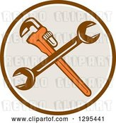 Vector Clip Art of Retro Crossed Plumber Monkey Wrench and Spanner Wrench in a Brown White and Taupe Circle by Patrimonio