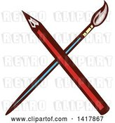 Vector Clip Art of Retro Crossed Red Pencil and Paintbrush by Patrimonio