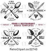 Vector Clip Art of Retro Crossed Silverware Restaurant Designs with Sample Text by BestVector