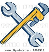 Vector Clip Art of Retro Crossed Spanner and Monkey Wrenches by Patrimonio