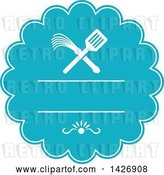 Vector Clip Art of Retro Crossed Spatula and Flogger Whip in a White and Blue Rosette by Patrimonio