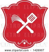 Vector Clip Art of Retro Crossed Spatula and Flogger Whip in a White and Red Shield by Patrimonio