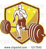 Vector Clip Art of Retro Crossfit Athlete Guy Running over a Barbell on a Shield by Patrimonio