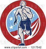 Vector Clip Art of Retro Crossfit Athlete Guy Running over an American Circle by Patrimonio