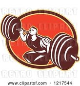 Vector Clip Art of Retro Crossfit Athlete Guy Squatting with a Heavy Barbell over an Oval by Patrimonio
