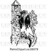 Vector Clip Art of Retro Crow Couple by a Bell Tower by Prawny Vintage