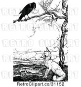 Vector Clip Art of Retro Crow in a Tree Above a Fox by Prawny Vintage