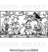 Vector Clip Art of Retro Crow Marrying a Girl and Rabbit by Prawny Vintage