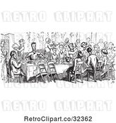Vector Clip Art of Retro Crowd Dining in by Picsburg
