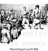 Vector Clip Art of Retro Crowd Watching Boxers with Copyspace by Prawny Vintage