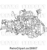 Vector Clip Art of Retro Crowded Horse Drawn Stagecoach by Prawny Vintage