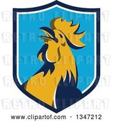 Vector Clip Art of Retro Crowing Rooster in a Blue and White Shield by Patrimonio