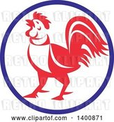 Vector Clip Art of Retro Crowing Rooster in a Blue White and Red Circle by Patrimonio