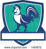 Vector Clip Art of Retro Crowing Rooster in a Blue White and Turquoise Shield by Patrimonio