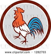 Vector Clip Art of Retro Crowing Rooster in a Brown White and Gray Circle by Patrimonio