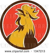 Vector Clip Art of Retro Crowing Rooster in a Brown White and Red Circle by Patrimonio